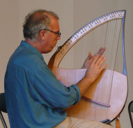 John playing a lyre built by Murray Wright